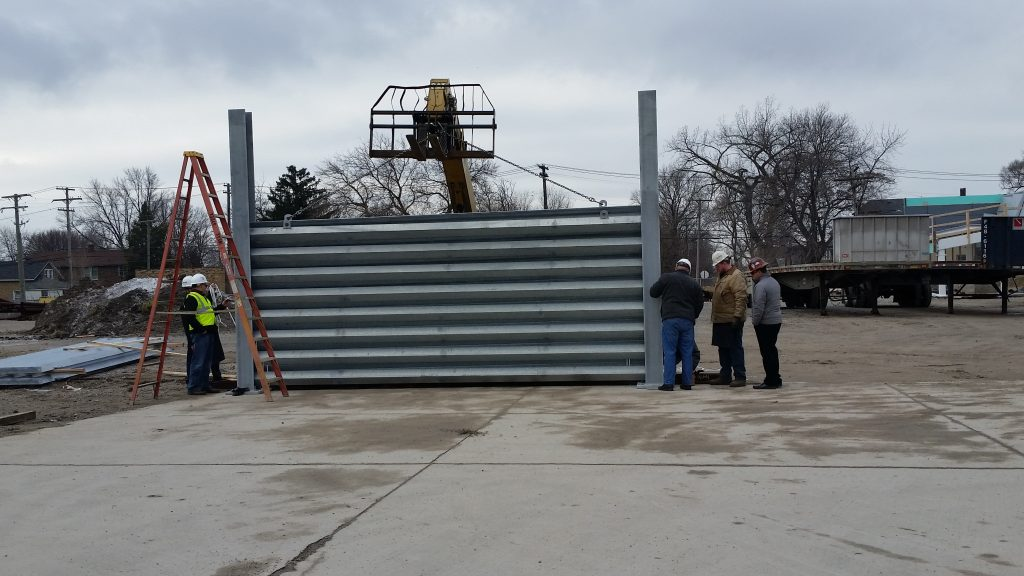 First Ideal Utility Services ballistic barrier test installation in Detroit, MI