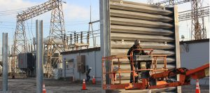 Installation of Ideal Utility Services US Steel ballistic barrier in Tampa, Florida