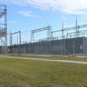 Ideal Utility Services' Ballistic Barrier protecting an electrical substation